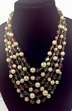 CHRISTIAN DIOR 1961 MAGNIFICENT COLORFUL GLASS AND PEARLS NECKLACE