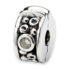 Sterling Silver Reflections Beads Hinged CZ Clip Bead Charm