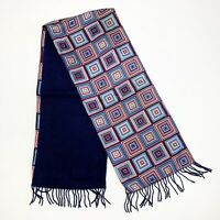 SQUARES BLUE Foulard 100% Wool 100% Silk Scarf WRAP FOR MEN  52/11 In