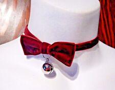 RED VELVET KITTY CHOKER bow tie bell catgirl anime cosplay lolita necklace U5