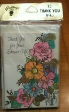 Thank You Cards For Your Shower Gift 12 WIth Envelopes