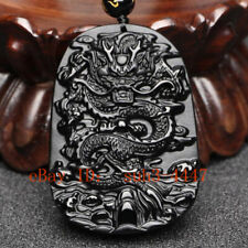 Men's Natural Obsidian Handmade Dragon Lucky Pendant Beads Chain Necklace