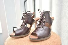 Dr Martens ***Raina Ladies High Heel *Open Toe Shoe size 6*** Brown Burgundy