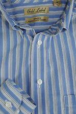 Roundtree & Yorke Men's Blueberry & White Striped Cotton Casual Shirt M Medium