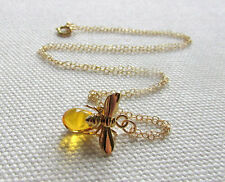 Bee Necklace 14k Gold Fill Chain Cute Charm Necklace Nature Animal Honey Bee