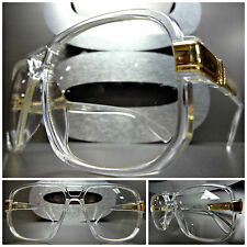 New CLASSIC VINTAGE RETRO Style Clear Lens EYE GLASSES Transparent & Gold Frame