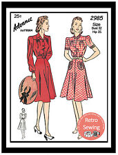 1940s Shirt Waist Dress Sewing Pattern - Reproduction