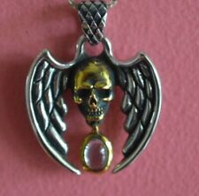925 Sterling Silver Gothic Skull Skeleton Wings Charm - Skull Pendant ONLY