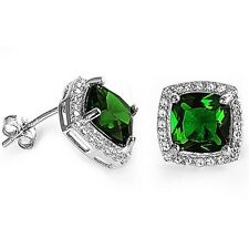 Gorgeous Square Emerald & White Sapphire Halo Earrings in Sterling Silver