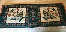 I LOVE COUNTRY Pink & Green Patchwork Quilt Pillow Fabric Panel 2 Squares