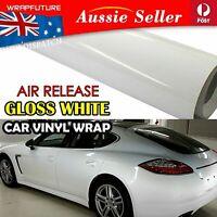 Smooth Gloss White Vinyl Wrap Auto Sticker Bubble Free Film Overlay 1.51Mx30CM
