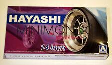 "HAYASHI 14"" TYRE WHEEL SET CERCHI E GOMME 1/24 AOSHIMA 05259 052594"