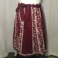 Vtg 70s Carefree Fashions Floral Panel Prairie Skirt XL Burgundy White Lace USA