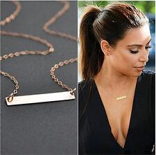 Women Simple Horizontal Stick Noble Bar Bone Pendant Necklace Jewelry Gift New