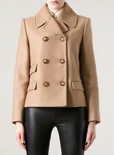 STELLA Mccartney SZ uk14 us10 it46 Cammello Lana Colette Peacoat cappotto giacca