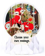 3D Pop Up Snow Globe greeting card - WOODLAND ANIMALS - #UP-WP-EG-015