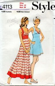 70s Style Sewing Pattern 4113 Misses Dress Two Lengths Bias Cut Bodice Size 12