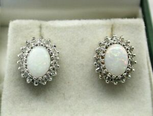 Lovely Pair of 9 carat Gold Opal And Diamond Cluster Stud Earrings