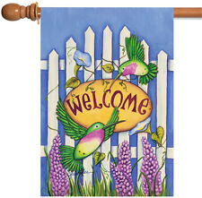 New Toland - Welcome Hummingbirds - Colorful Bird Fence Flower Spring House Flag
