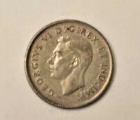 1946 VF King George VI Canada Quarter .800 silver