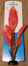 New listing Aquarium Fish Tank Top Fin Sword Leaf Silk Plant Red Decoration With Base