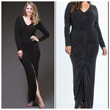 Plus Size NYE Black & Gold Glitter Long Sleeve Maxi Dress, 3XL, 16/18