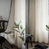 Curtain Living Room Boho Cotton Linen Tassel Windows Curtains Drapes Home Decor