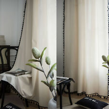 Beige Curtain Tassel For Living Room Windows Bedroom Cotton Linen Sheer Curtains