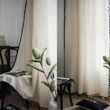 Boho Curtain Living Room Bedroom Cotton Linen Windows Curtains Drapes Home Decor