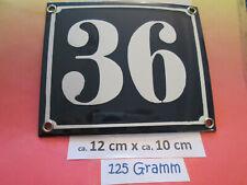 Hausnummer Emaille  Nr. 36 weisse Zahl auf blauem Hintergrund 12 cm x 10 cm