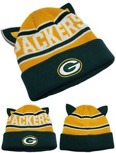 Green Bay Packers New NFL Proline Knit Beanie Ears Youth Kids Green Era Hat Cap