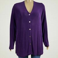 Units Woman Purple Travel Knit Cardigan Sweater Jacket 3X PLUS Plum Purple