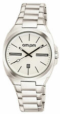 New AMPM Unisex Analogue Quartz Watch PG121-U103 Steel Case Steel Bracelet