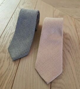 Lot 2 Brown & Grey Houndstooth Slim Saks Fifth Avenue Cashmere Tie Made in USA