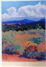 Vintage MARY SILVERWOOD Distant Wills Colorful landscape West Lithograph #Z160