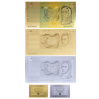 WR 1966 Australian Commonwealth 2 Dollar Note Gold Silver Foil Banknote Set +COA