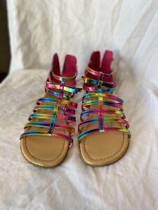 TCP rainbow metalic roman styler sandles w zip back Girls youth size 4