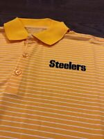 Mens Size XL Nike Pittsburgh Steelers Polo Shirt Yellow Striped NFL