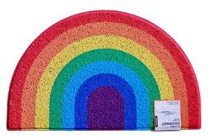Half Moon Rainbow Entrance Door Mat Heavy Duty Welcome Floor Mat | 70x44cm