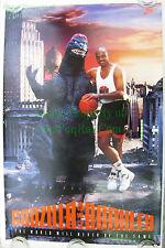 Vintage Original NIKE Baseketball Poster ☆ Charles Barkley Vs. Godzilla ☆ #5322