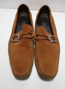 Salvatore Ferragamo Driving Shoes Loafers Moccasins 10D Men light brown suede