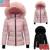 WOMENS LADY QUILTED WINTER COAT PUFFER FUR COLLAR HOODED JACKET PARKA OUTWEAR US