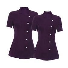 2 Pieces Salon Spa Beauty Beautician Hairdressers Nails Purple Uniforms M L