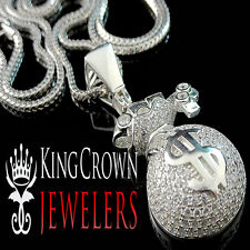 White Gold Over Sterling Silver Lab Diamond Money Bag Piece Pendant Charm Chain