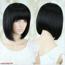 Women Fashion Black Short Bob Straight Bangs Heat Resistant Hair Wigs Synthetic