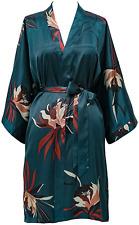 KIM+ONO Satin Kimono Robe Short - Hana - Teal Blue