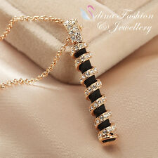 18K Rose Gold GP Simulated Diamond Studded Twisted Black Cylindrical Necklace
