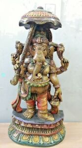 Umbrella Ganesha Hand Carved Sculpture Hindu God Ganesh Statue Home Decor Idol
