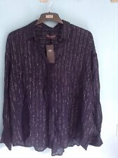 BNWT M&S COLLECTION LADIES SHIRT SIZE 22, NAVY, SILVER