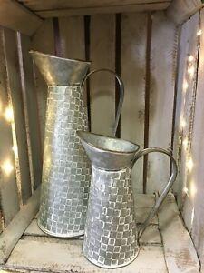 Zinc Metal Jug Vintage Style Shabby Chic Pitcher Flower Vase Rustic